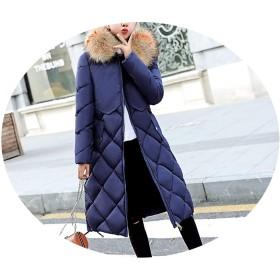 冬の女の人の綿 膝の長いセクションの大きな毛皮の襟のチェック柄のジャケット多色の大きなサイズのフード,青,M