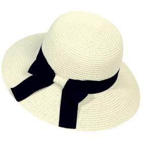 【セット】帽子 レディース ハット 麦わら帽子 折りたたみ可能 携帯便利 つば広 日除け 春 夏 UVカット 旅行 ガールズ 女性用 紫外線対策 熱中症予防 折り畳み おしゃれ 可愛い ハット 日よけ 夏季 女優帽 小顔効果/ SA1018 (ホワイト)