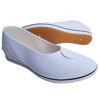 [Sulida] 看護師 靴 ダンスシューズ フラットシューズレディース パンプス ナースシューズ ヒールなし 軽量 社交ダンス 立ち仕事 脱ぎ履き簡単 疲れにくい 通気性 すべり防止 size 22.5cm (ホワイト)