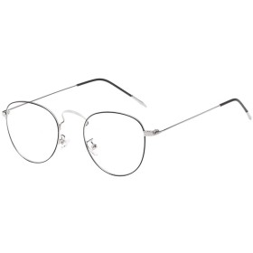 Zhhlaixing 軽量型 Retro Round Metal Frame 透明レンズ Protective Glasses Ornamental Safety Goggles for Men & Women 男女兼用