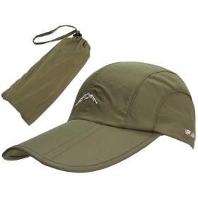 i-loop 折り畳み 帽子 スポーツキャップ スポーティ キャップ 防水 UVカット メッシュ 通気 速乾 男女兼用 メンズ レディース 収納ポーチ付き (アーミーグリーン)