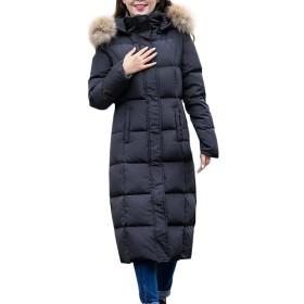 Fashion maker(ファッション メーカ) ダウンコート レディース コート ダウンジャケット 防寒着 アウター 着痩せ フード付き フェイクファー 軽量 カジュアル ロング丈 シンプル 暖かい 大きいサイズ (ブラック, L)