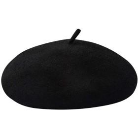 Caseeto べれー帽 レディース ベレー帽 キッズ 帽子 ウール サイズ調整可 秋冬春 帽子 防寒 無地 男女兼用 (Free, A-Black)
