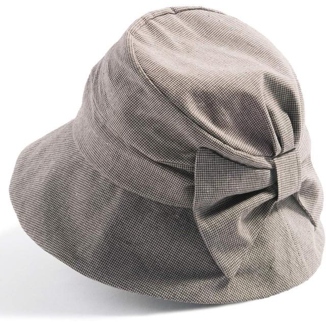 クイーンヘッド UVカット つば広 帽子 サイドリボンQUEENHハット 小顔 ハット レディース 大きいサイズ 紫外線カット 女優帽【フリー56-58.5cm-千鳥ブラウン】
