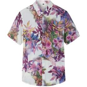半袖シャツ アロハシャツ メンズ ハワイ風 夏 開襟 ラペル UV対策 通気速乾 軽量 ストレッチ 大きいサイズ カジュアル 薄手 ゆったり 旅行 リゾート ビーチ 海 花柄 パープル 3XL