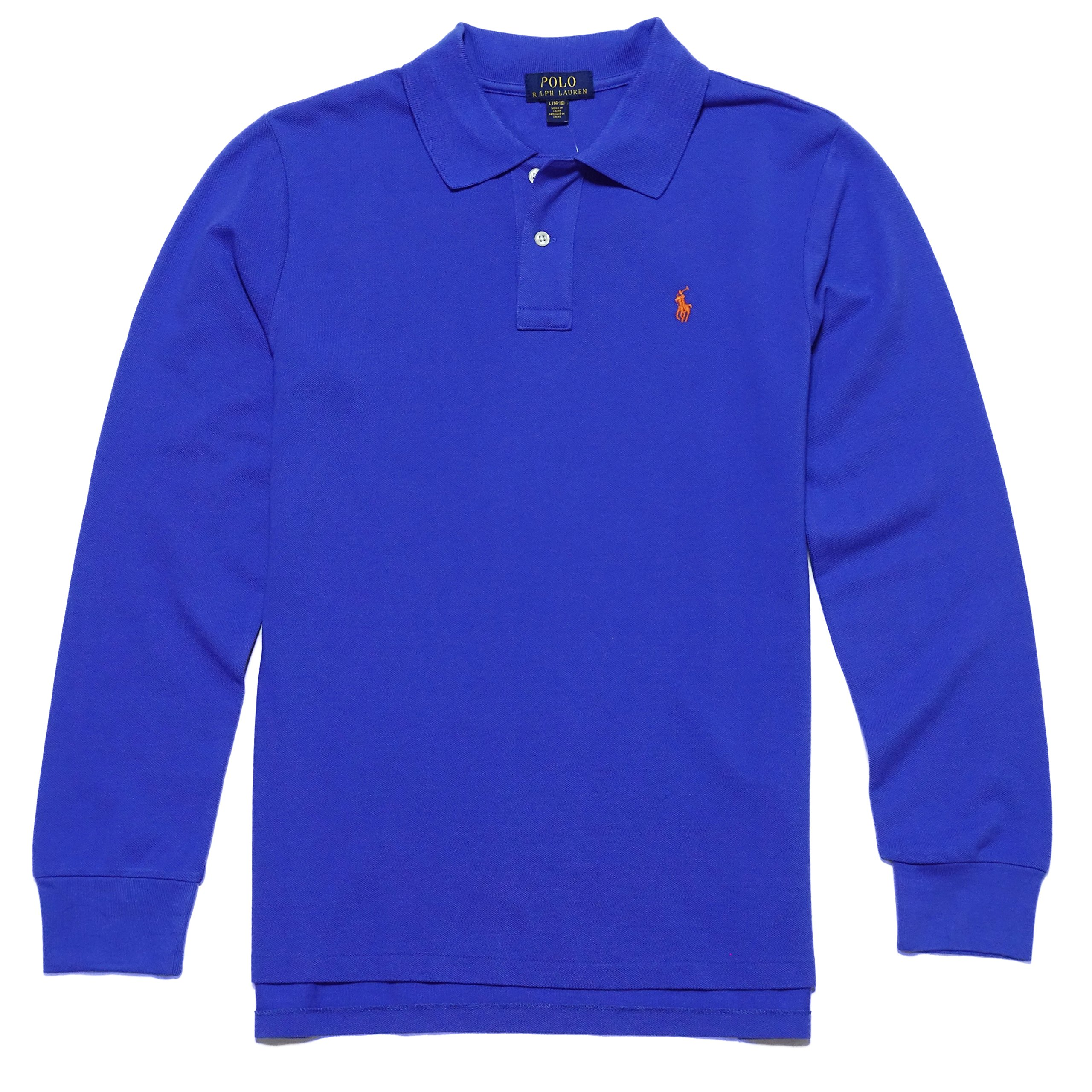 New with tag NWT Boys Ralph Lauren Barclay Blue Long Sleeve Polo Shirt M L XL