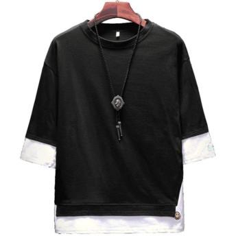 SSZO メンズ ボイス 半袖 Tシャツ レイヤード風 トップス 薄手 快適Tシャツ ゆったり 顔 英文字 刺繍 プルオーバー ストリート ビッグサイズ (L, ブラック)