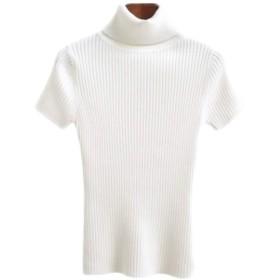【ACE FACTORY】レディース トップス ハイネック タートルネック 半袖 シャツ おしゃれ 可愛い スリム インナー エコバッグ付き ホワイト フリーサイズ