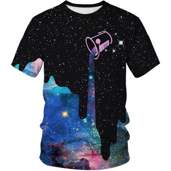 Pizoff(ピゾフ) メンズ Tシャツ 半袖 クルーネック スリム 大きいサイズ 星柄 ギャラクシー おしゃれ ストリート カットソーAM089-51-S