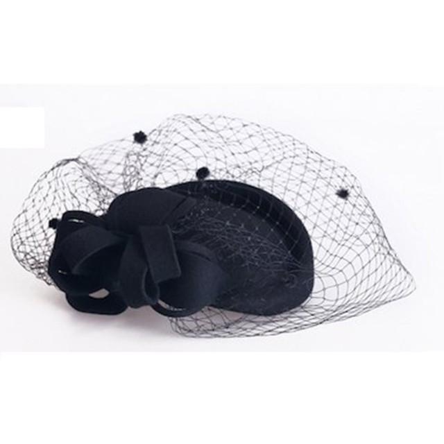 ミニハット ヘッドドレス トーク帽 礼装帽子 ヘッドドレス トークハット (黒)