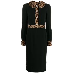 Dolce & Gabbana レオパード トリム ドレス - ブラック