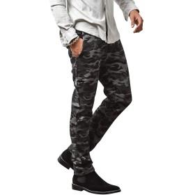 ルービック(RUBIK) ジョガーパンツ メンズ スウェットパンツ カーゴパンツ スキニーパンツ テーパード 無地 S(テーパードタイプ) ブラックカモ