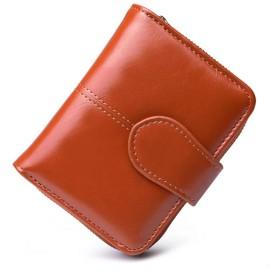 gundoop 財布 二つ折り財布 本革製 小銭入れ付 大容量 ボックス型短財布 小型 軽量 カードと紙幣 オイル仕上げ ブラウン色