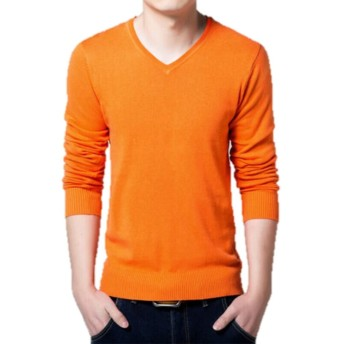 【SEBLES】 メンズ ニット / セーター 長袖 Vネック 赤 黒 紫 青 … 16種類 カラー 秋冬 2015(XL, オレンジ)