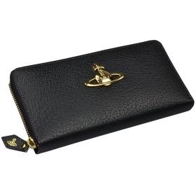 [セット品] 名入れ 刻印 セット ヴィヴィアン ウエストウッド 長財布 エグゼクティブ 本革 ラウンドファスナー ステアレザー 牛革 Vivienne Westwood EXECUTIVE オーブ ブランド 財布 (書体タイプA, ブラック)