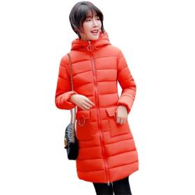 PIITE レディース ダウンジャケット ロング 冬用 ダウンジャケット 体型カバー 綿服 フード付き 無地 シンプル ダウンコート 純色 防寒服 アウター 学生 ブルゾン 韓国ファッションオレンジ8