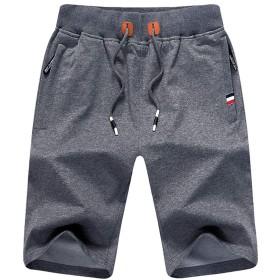 メンズ ハーフパンツ 5分丈 短パン 男 ズボン ショートパンツ 半ズボン dakgray L