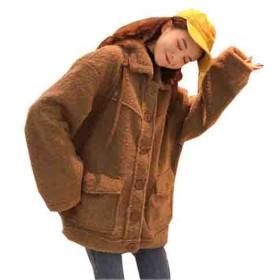 [エージョン] レディース 冬コート ゆったり カシミヤ ふわふわ 起毛 冬コート ムートンコート 無地 厚手 アウター カジュアル ダウンコート 可愛い レトロ チェスターコート ラペル ファッション コーヒー