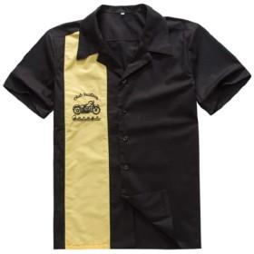 Ride On Charger ボウリングシャツ 半袖 ロカビリー バイカー パンク ロックスタイル (黄色, L)