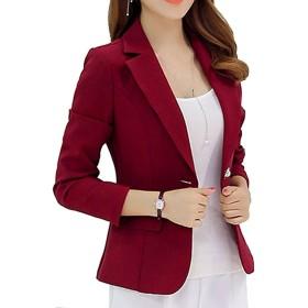 GALAXYONE レディース テーラード ジャケット ショート ブレザー オフィス 通勤 スーツ フォーマル 入学式 入園式 卒業式 エレガント 3色 (L, 赤)