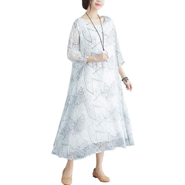 マキシワンピース レディース 大きいサイズ シフォン 半袖 柄ワンピース ロング ゆったり 重ね着風 体型カバー
