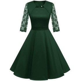 Homrain クリスマス衣装 パーティードレス 50年代 ワンピース カップ袖/7分袖 結婚式 ワンピース おおきいサイズ スイングワンピース グリーン-1 XSサイズ