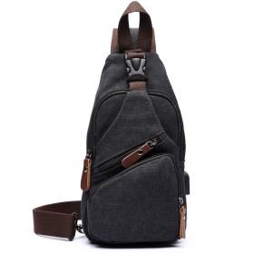 帆布 ショルダーバッグ メンズ レディース ボディバッグ 軽量 ワンショルダー 斜めがけ鞄 バッグ USB充電ポート(黒)