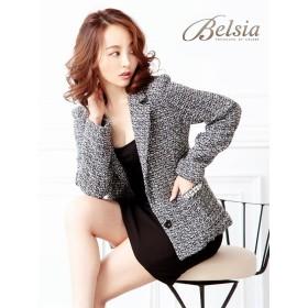 【Belsia】大きいサイズ完備!!MIXツイード2ボタンキャバスーツ パール付ポケット2pスーツ/式スーツ 女性 フォーマルにも【ベルシア】(S/M/L/XL)(ブラック) S(120) ブラック(100)