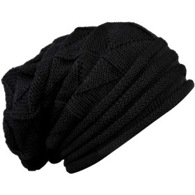 IPOTCH ウール無地 ハット キャップ ニット帽 ビーニー 男女用 カジュアル 調整可能 全5色 - ブラック