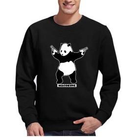 スウェット Tシャツ パンダ 可愛い オリジナル プリント 長袖 丸襟 ストレッチ クルーネック 美シルエット ファッション カジュアル コットン 綿 ブラック XXL