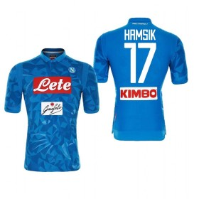 1819年度 Naples サッカーユニフォーム SSCナポリ ホーム ブルー 半袖 No.17 メンズ レプリカ 半袖 M