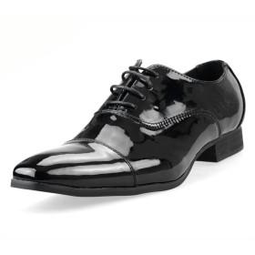 [エムエムワン] メンズ 靴 ビジネスシューズ メンズ ドレスシューズ メンズビジネスシューズ ロングノーズ 紳士靴 【 ZNB278B 】 ブラックエナメル 39(24.5cm)