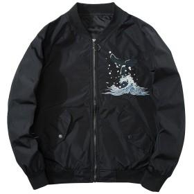 BANKIKU(バンキク) スカジャン メンズ 和柄 中綿 バイク ジャンパー 薄手 フライトジャケット アウター ma1 メンズ 刺繍 中綿ジャケット ライダース