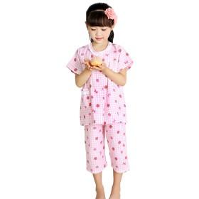 FEVON パジャマ キッズ ガールズ ルームウェア 夏 上下セット 子供服 女の子 可愛い いちごプリント 半袖 ショートパンツ 部屋着 綿100% 2重ガーゼ ナイトウェア 前開き 便利服 寝巻き 寝間着