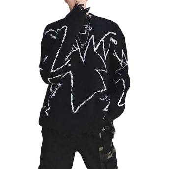 Gergeousメンズ ニットセーター ゆったり ダメージ加工 セーター ストリート 韓国ファッション トップス bf風 原宿系 プルオーバーセーター(F黒)