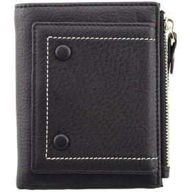 F.ZH 二つ折り財布 レディース 本革財布 おしゃれ 短サイフ ファスナー小銭入れ 可愛い財布 コインケース カードと紙幣大量収納可 (ブラック)
