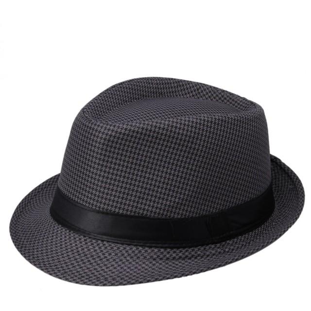 EOZY オシャレチェック柄メンズ中折れハット 紳士帽 パナマハット ストローハット頭囲58cm UVカット 紫外線防止 夏お出かけビーチ旅行 ブラック