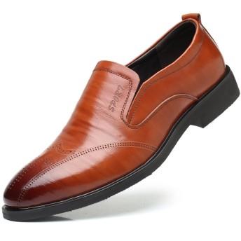 WEWIN ビジネスシューズ メンズ 本革 ローファー スリッポン サイドゴア 大きいサイズ 革靴 ファッション 蒸れない 防滑 通気