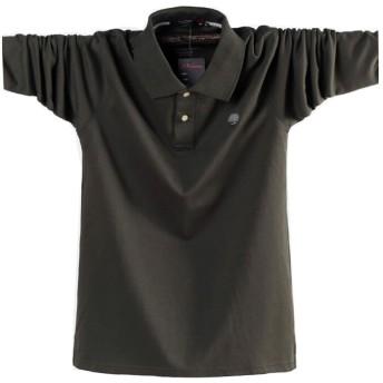 ポロシャツ長袖メンズ おしゃれゴルフウェア スポーツウェア稀少 秋冬 大きいサイズ (緑, M)