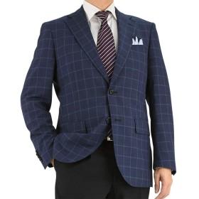 (スーツデポ) SUIT-DEPOT 2ツボタン レギュラージャケット ブルー杢 ウィンドペン チェック 1M7902-32 BB7