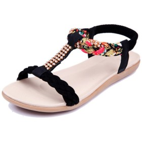 [スゴフィ] レディース サンダル ビーチサンダル キラキラ リゾート 痛くない 歩きやすい 花柄 (25(40), ブラック)