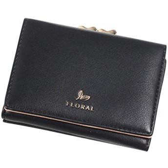 財布 レディース レザー 三つ折り 大容量 小銭入れ カードケース 軽量 便利 がま口 ウォレット 人気 プレゼント 可愛い ハート ミニ財布 (ブラック)