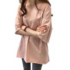 EASONDDD ビッグT レディース 半袖 Tシャツ 夏 トップス ロングTシャツ 無地 シンプル カットオフ ゆったり ゆる服 大きいサイズ 着痩せ