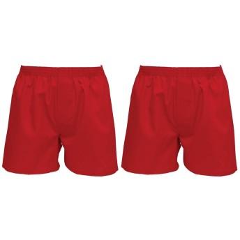 紳士 2枚組セット 赤いトランクス 綿100% 日本製 M.L.LL.3L.4L (Lサイズ, 赤(2枚組))