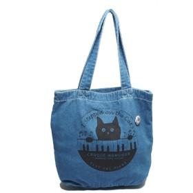 松下カツミ 猫柄デニムトートバッグ(大) ピアノ(ライトブルー)