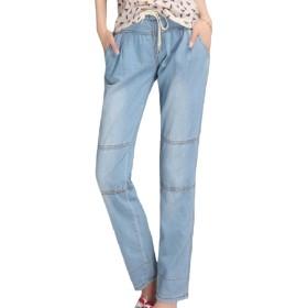Tootess Womens Straight Cotton Oversized Empire Waist Elastic Waist Jeans Light Blue 2XL