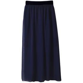 (ジュエシャンジ) Jueshanzj レディース シフォン 無地 ハイウェスト 黒いゴムウェストバンド ロング スカート 19色可選 ネイビーブルー ワンサイズ