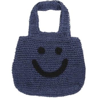 [神戸レタス] トートバッグ A4 裏地付き スマイル刺繍 ペーパー素材 レディース [B1016] ワンサイズ ネイビー