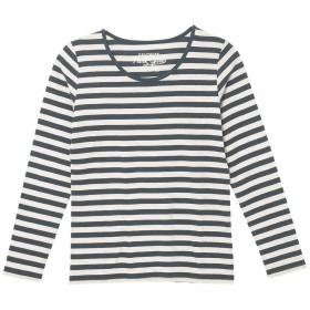 (パークガール)PARK GIRL コットン100%フライス素材ボーダークルーネック長袖Tシャツ レディース 大きいサイズ M/L/LL 562840000a (M, チャコール×オフホワイト(均等))