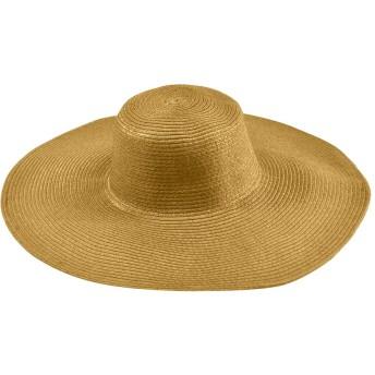 Plus Nao(プラスナオ) 帽子 カンカン帽 つば広 つば広ハット つば広帽 女優帽 麦わら帽子 日よけ 日よけ帽子 UV対策 UV対策帽子 UVハット - キャメル